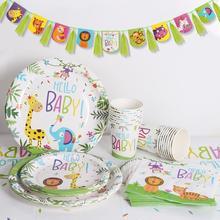 цена на PATIMATE Hello Baby Disposable Tableware Safari Jungle Party Decor Jungle Animals Safari Birthday Party Supplies Baby Shower