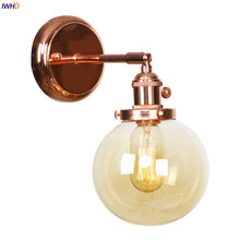 IWHD Amber Glass Ball Wall Lights For Home Lighting Mirror Stair Light Nordic Modern LED Wall Lamp Sconce Aplique Pared Wandlamp rushed luminaire double head wood wall lights bedroom lamps hallway wandlamp bed light nordic home lighting sconce lamp iy121786