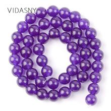 Natural Purple Jades Round Stone Beads For Needlework Jewelry Making 4 6 8 10 12mm Spacer Loose Diy Bracelet Necklace 15