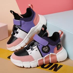 Image 2 - Детские кроссовки, обувь для мальчиков, модная кожаная обувь для девочек, нескользящая обувь для бега для девочек, кроссовки, Детские лоферы, осень 2020