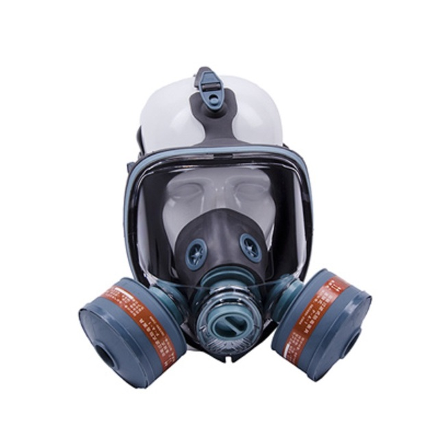 Painting Spray Gas Mask N95 Chemical Full-face Mask Respirator Long Tube Filter Pesticide Ammonia with Automatic Blower 2
