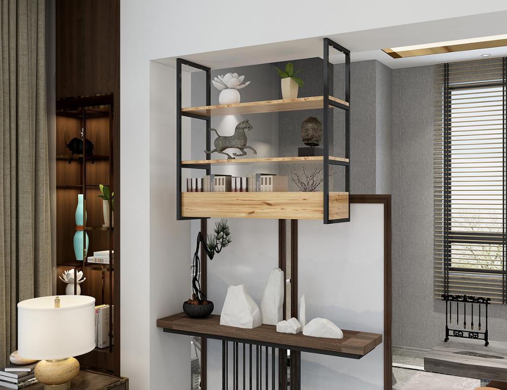 DIYHD 3 Layer Ceiling Mount Black Flat Pipe Shelf Bracket,No Wooden Box