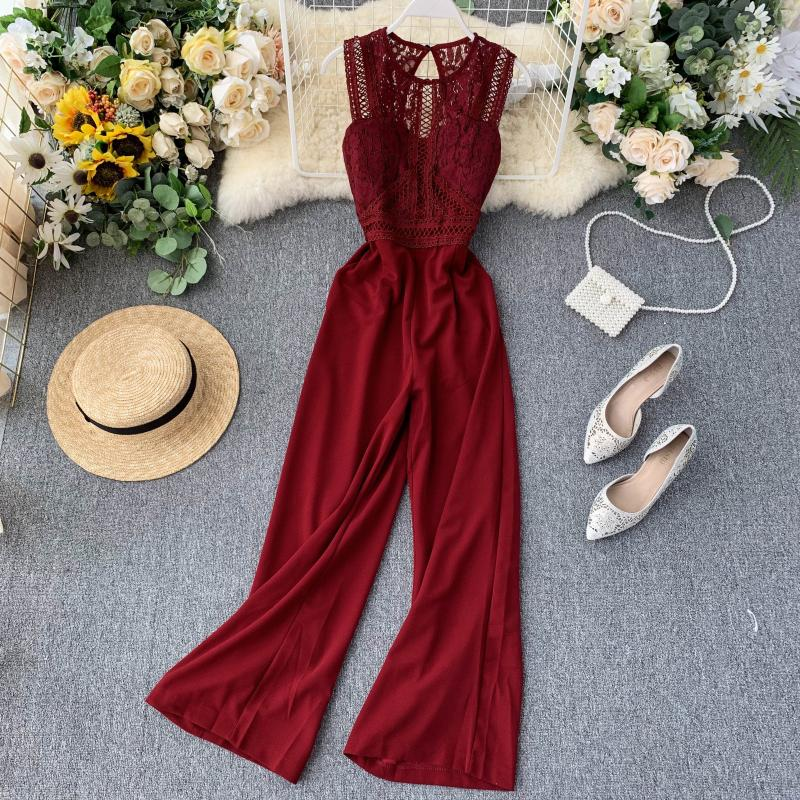 Elegant High Waist Hip Wide Leg Patchwork Lace Hollow Out Sleeveless Jumpsuit 12