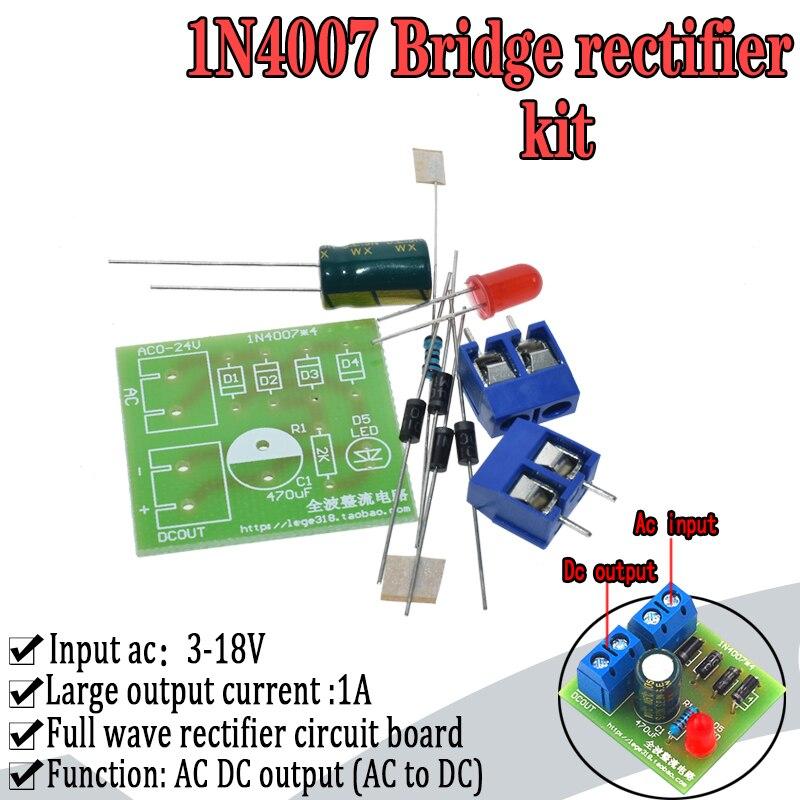 10 unids Kits DIY IN4007 Puente de Onda Completa Puente Rectificador Tablero de Circuitos AC a DC Fuente de Alimentaci/ón Convertidor Ense/ñanza Electr/ónica