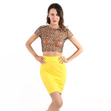 Women Sexy Slim Mini Skirt Sets Mesh Indie Fork Colorful Dot Print 2 Pieces Short Sleeveless Fashion High Street Sexy(China)