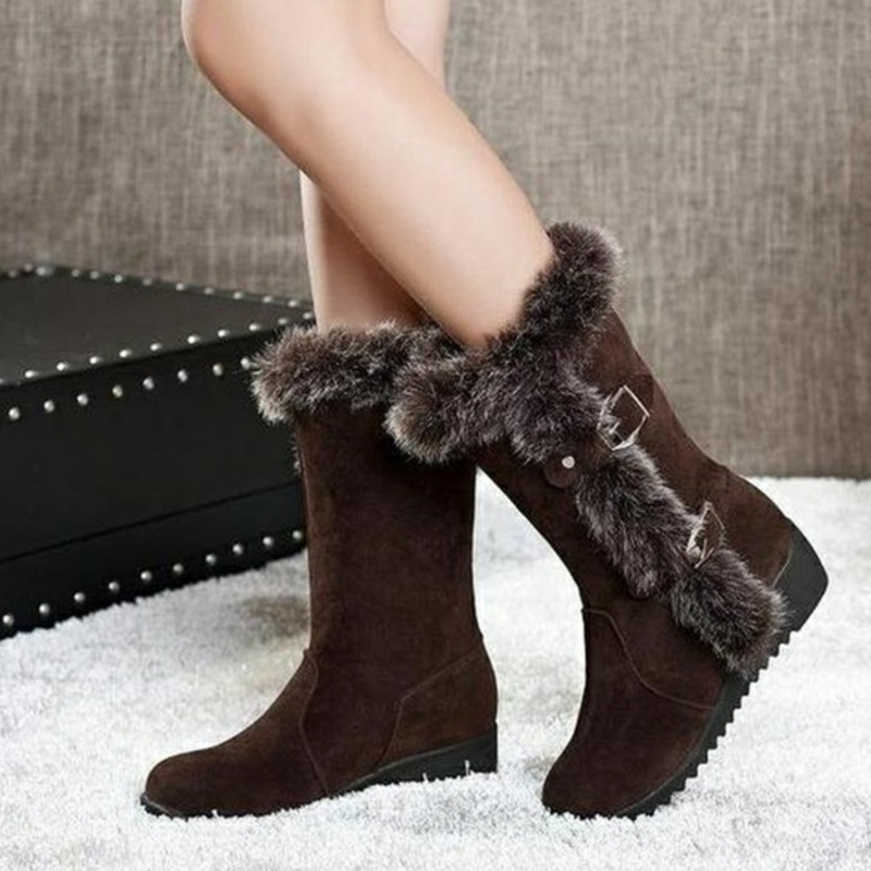 Women Winter Boots Flock Winter Shoes Ladies Fashion Snow Boots Shoes Thigh High Suede Mid-Calf Boots 10