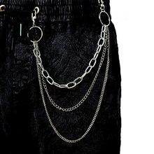 Vintage pantalones largos Metal Rock pantalón Hipster Jean llavero anillo Clip borla llaveros mujer accesorio