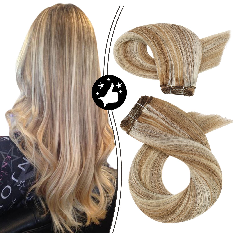 Weft Hair Extensions Human Hair Sew in Bundles 100% Natural 100g Brown Highlight Blonde Machine Remy Brazilian Hair
