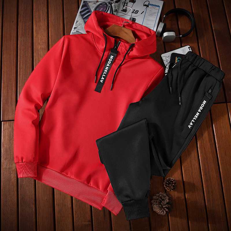 2018 Spring And Autumn New Style Men Long-sleeve Suit Fashion Hooded Solid Color Hoodie Teenager Leisure Sports Suit