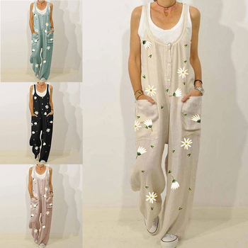 Jumpsuit Wide Leg Fashion Print Linen Women Jumpsuit Plus Size Sleeveless Loose Overalls Casual Lace Up Strappy Dungarees Romper plus size plain loose wide legs jumpsuit