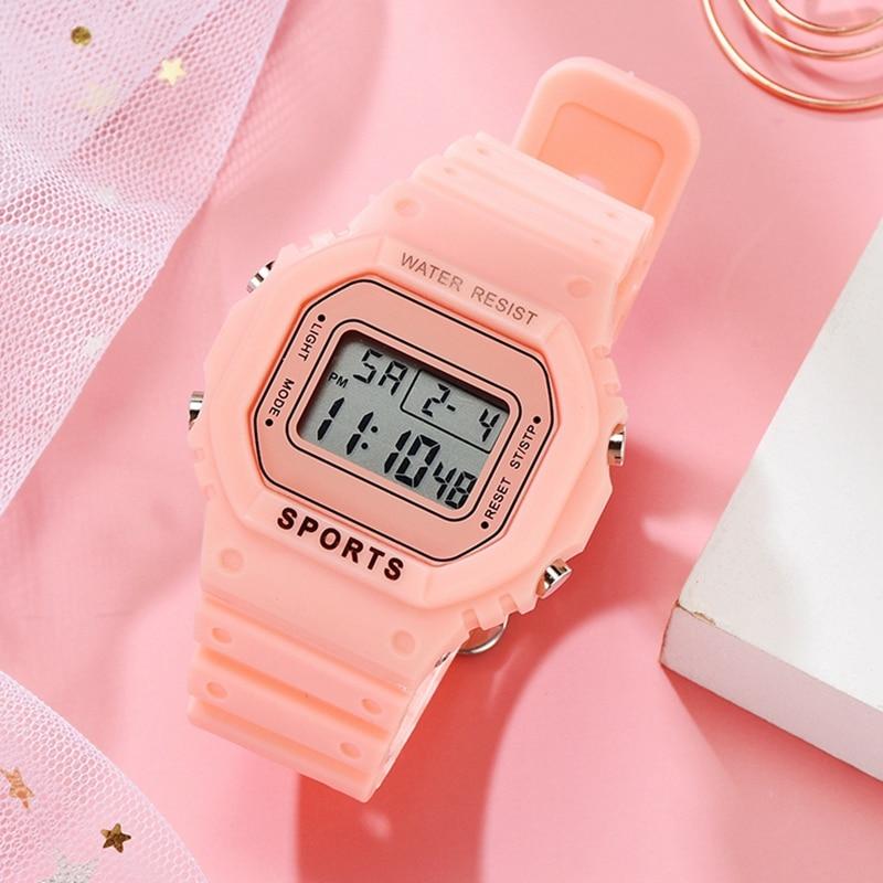 Luxury Women Digital Green Watch Multifunction Waterproof Women Watches Unisex Male Watch Rectangle Children Sport Watches(China)