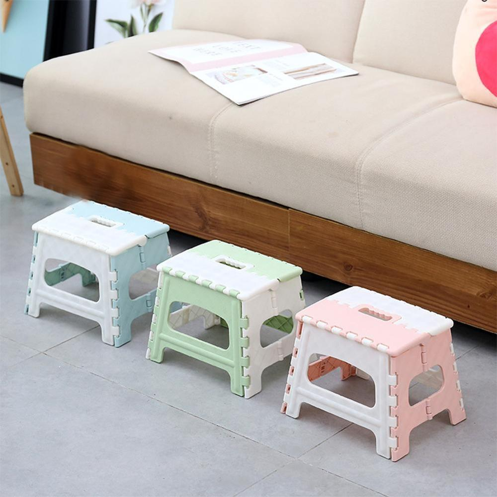 1pc Plastic Multi Purpose Folding Step Stool Train Outdoor Storage Foldable