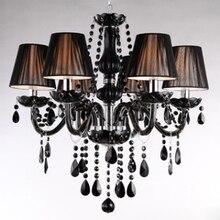 Classic Black Chandelier Light Modern Crystal Chandelier E14 Candle Holder Novelty Wedding Decorative Lighting Fixtures