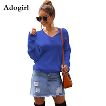 Adogirl Fashion 2019 Winter Women Solid Color Hole V-neck Sweaters Vintage Knitted Casual Long Sleeve Pullover Sweater Tops