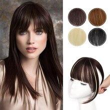 Isaic Dark Brown/Black Synthetic Hair Fringe Clip Bangs Clip In Hair Extension 3D Natural Franch Bangs High Temperature Fiber