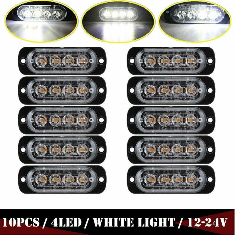 10PCS Side Marker Light Strobe Trailer Light 4 LED 24V Truck Marker Emergency Flash Strobe Warn Hazard Light 12V-24V