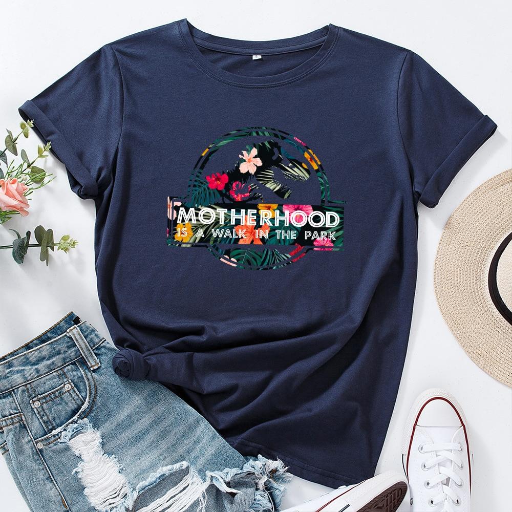 JFUNCY Casual Cotton T-shirt Women T Shirt Motherhood Letter Printed Oversized Woman Harajuku Graphic Tees Tops 17
