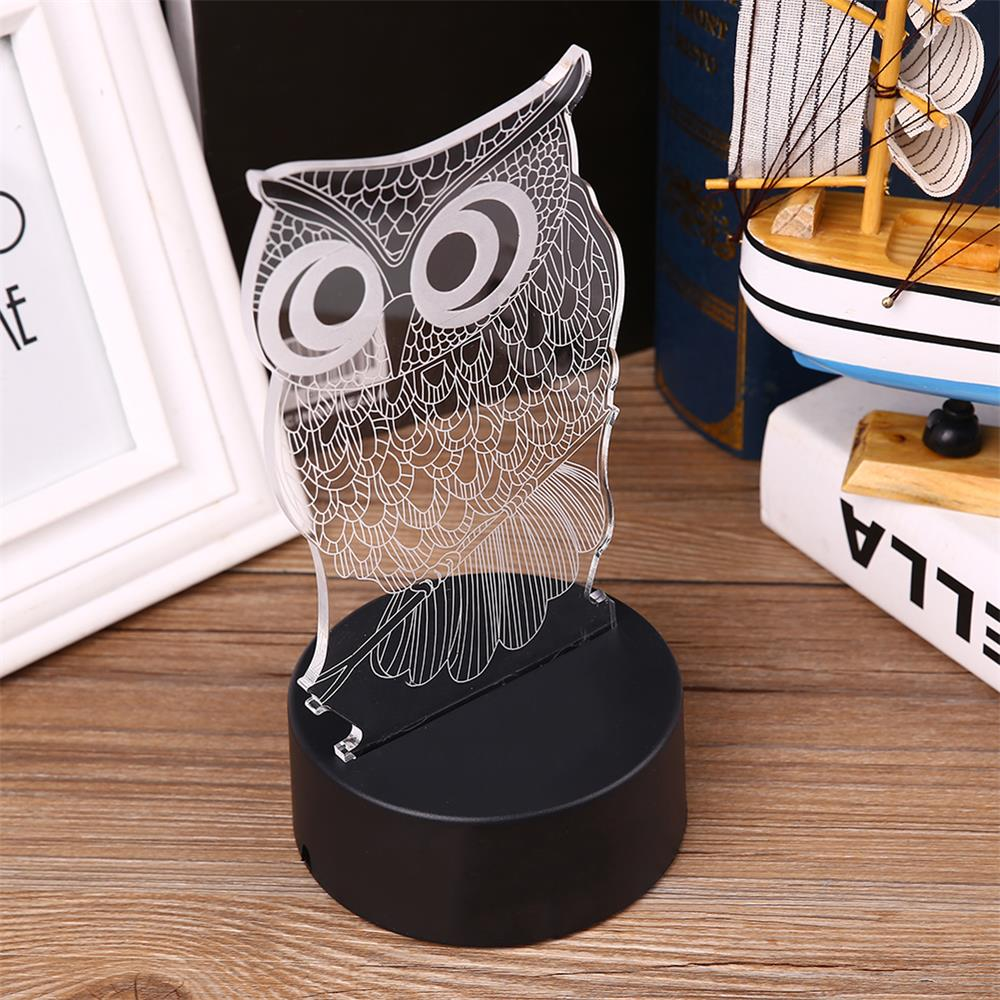 Cute 3D Owl Shape LED Colorful USB Touch Night Light Bedside Table Lamp Gifts image