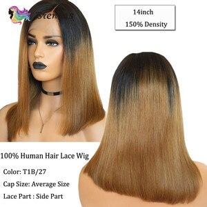 Image 2 - Ombre düz bob peruk 13X1 parçası dantel peruk 1b27 kahverengi renk bebek saç T kısmı kısa bob peruk siyah kadınlar için kadınlar brezilyalı Remy 150% D