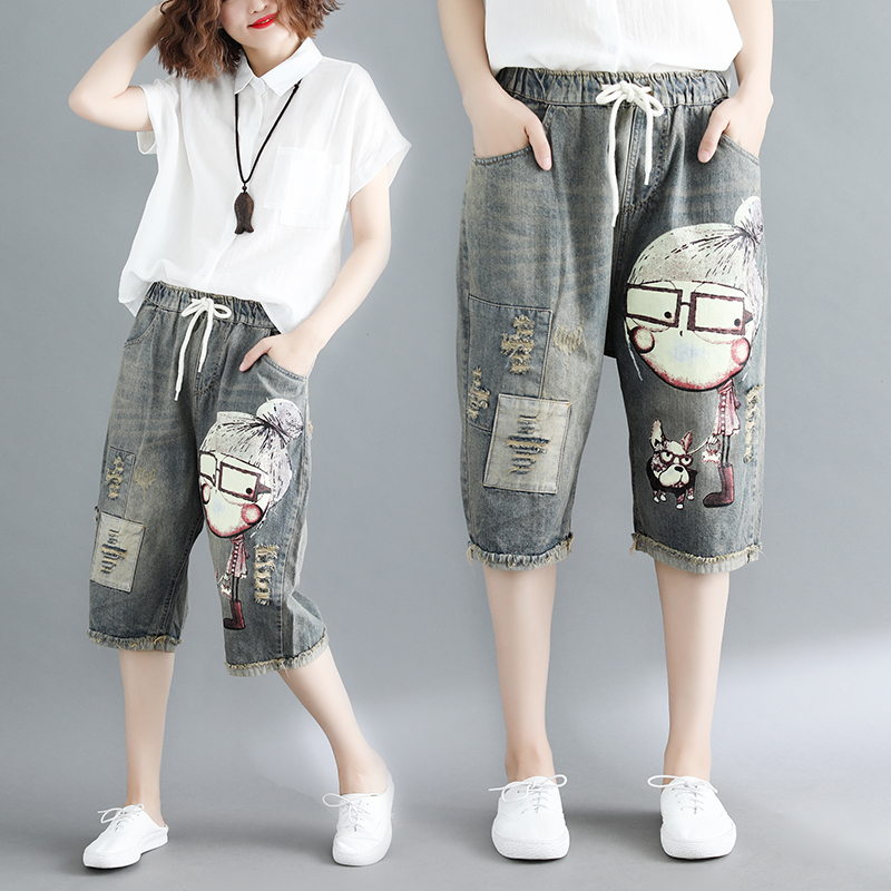 Summer Thin Capris Jeans Woman Holes Ripped Ladies Vacation Beach Shorts Denim Pants Plus Size Knee Length jeans mujer
