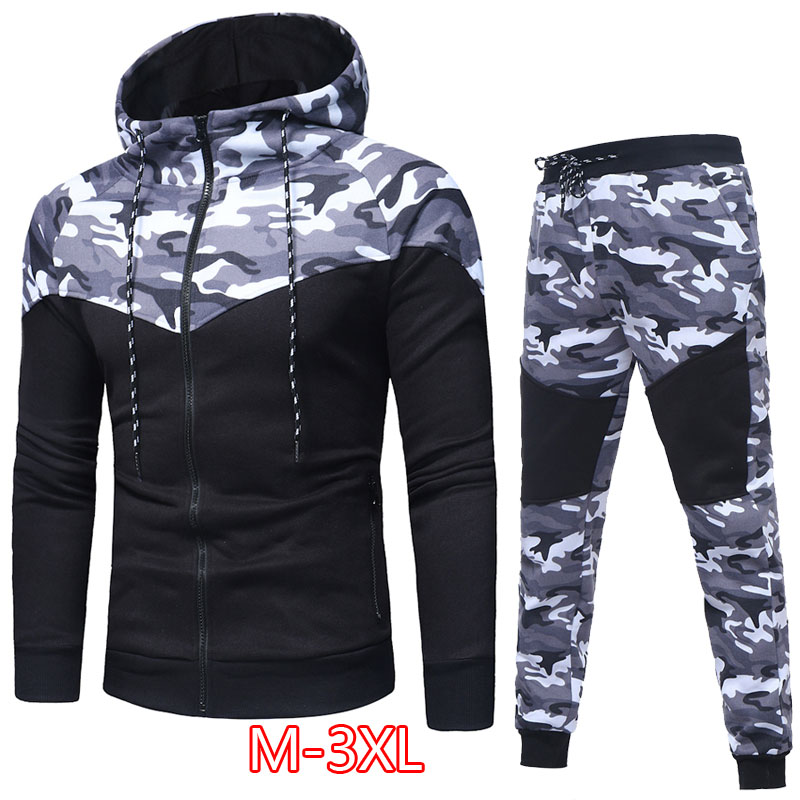 HS Men Camouflage Full Tracksuit Hoodies Jogging Top+Pants Sport Suit Set