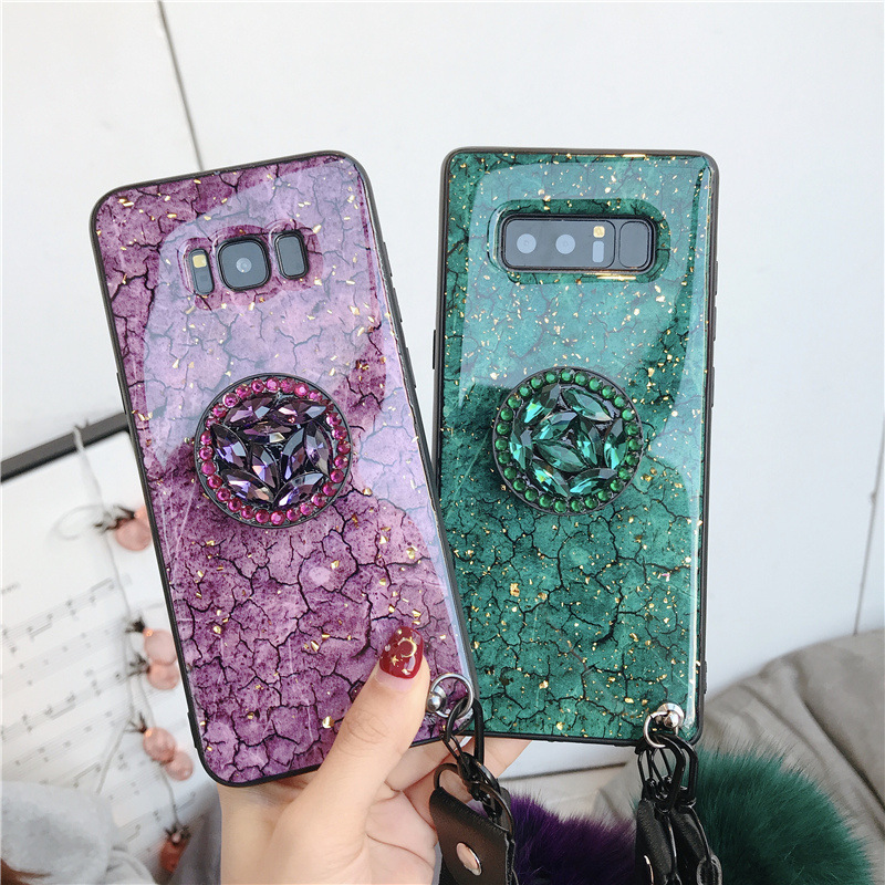 Luxury Diamond Holder <font><b>Case</b></font> For <font><b>Samsung</b></font> Galaxy A50 A70 A30 M30 Note 10 Pro 9 Bling Crack Marble Cover S10 Lite S9 Plus S8 <font><b>S7</b></font> <font><b>Edge</b></font> image