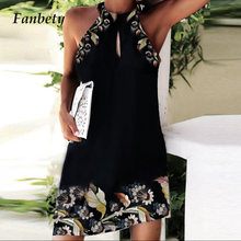 Vintage Floral Print Women Mini Dress Casual Halter Hollow Out Sleeveless Dress Summer Lady Off Shoulder Slim Fit Party Dress