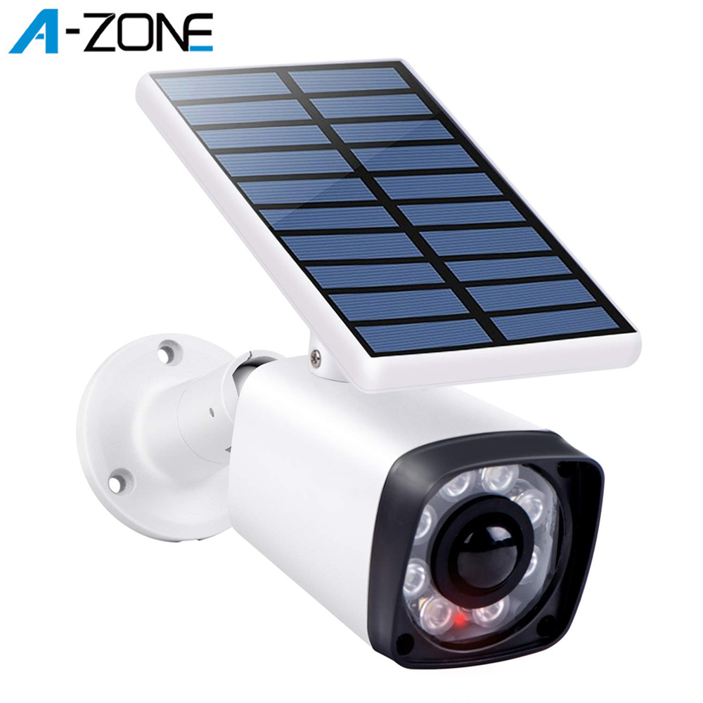 A-ZONE Fake Surveillance Camera Dummy CCTV Security Bullet Camera Solar Battery LED Light PIR Motion Sensor Outdoor False Camera