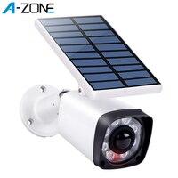 A ZONE Fake Surveillance Camera Dummy CCTV Security Bullet Camera Solar Battery LED Light PIR Motion Sensor Outdoor False Camera