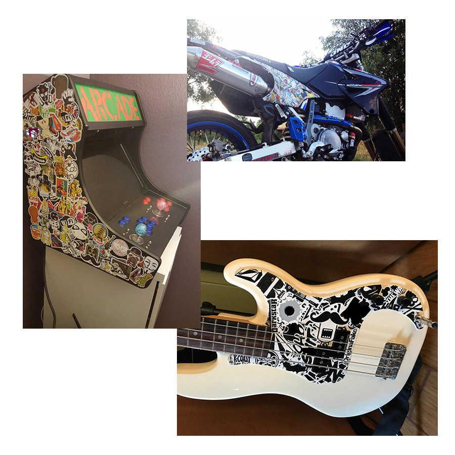 50 Buah Logam Hitam dan Putih Stiker Punk Lucu Keren Sticker DIY untuk Laptop Motor Sepeda Gitar Koper Skateboard Mobil