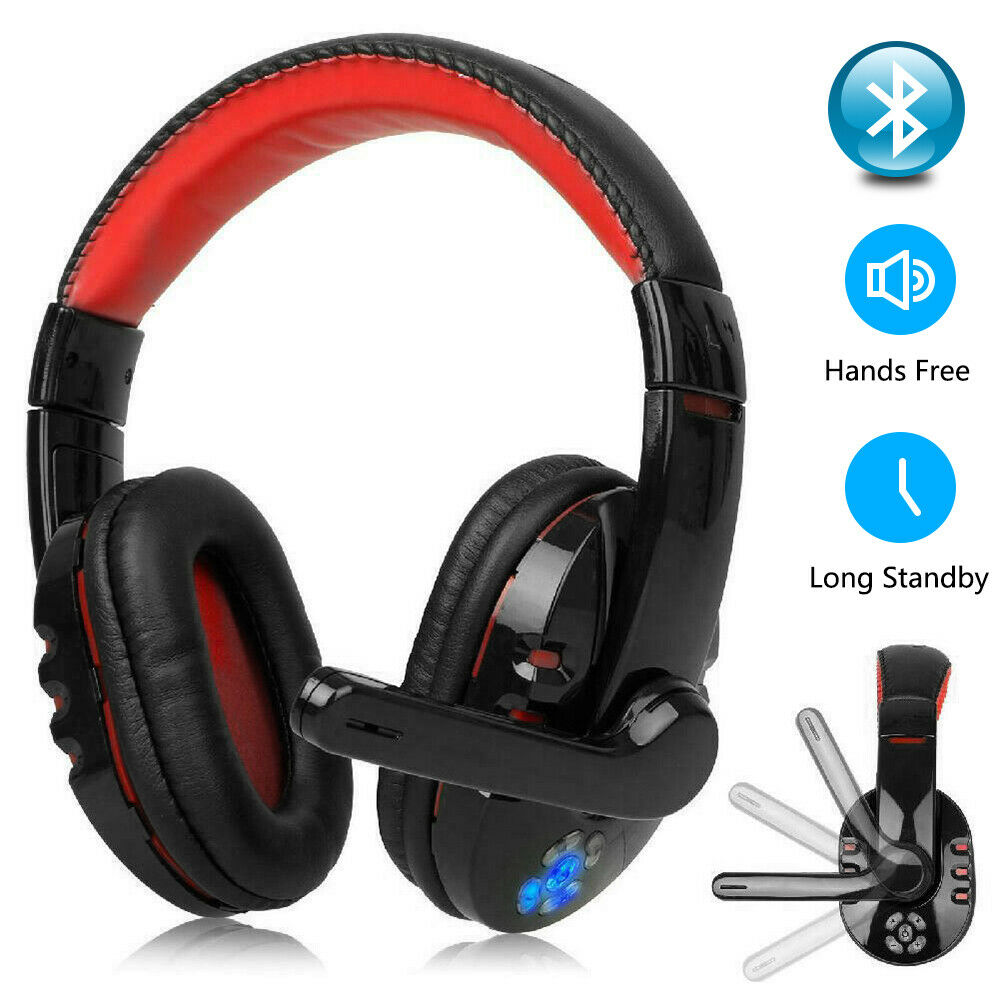 Wireless Headphone LED Bluetooth Gaming Headset Closed-back Design Over-ear with Adjustable Mic Headband for PC Laptop Games image