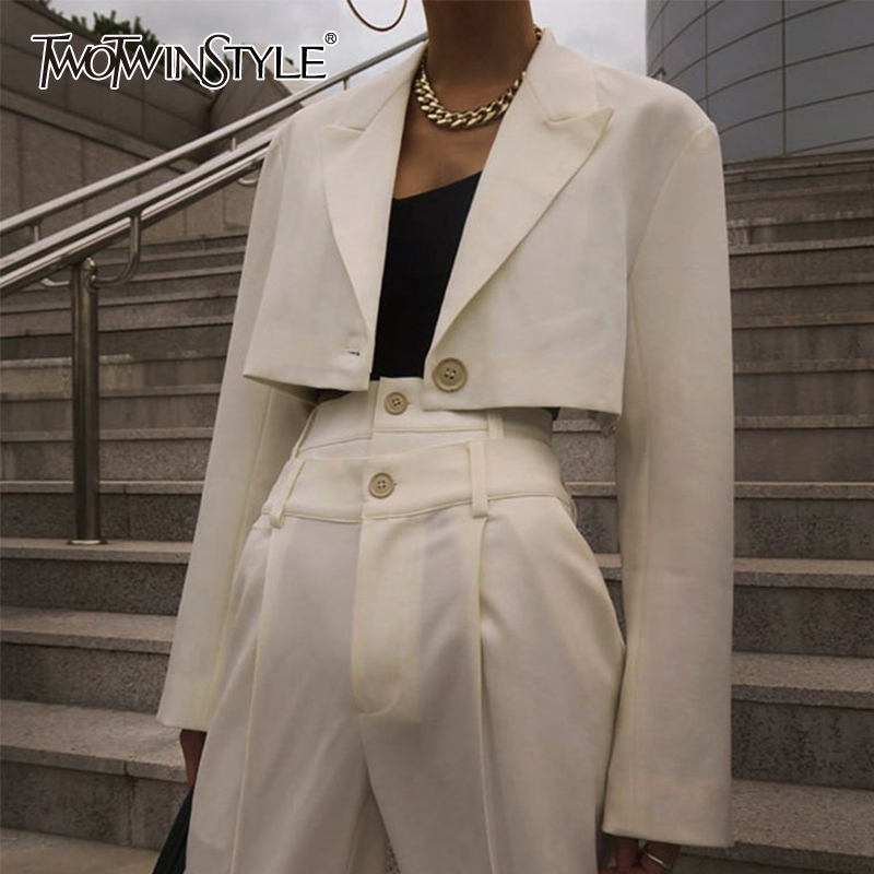 TWOTWINSTYLE White Blazer Coat Women Long Sleeve Crop Tops Blazers Female Fashion Clothes 2020 Autumn New