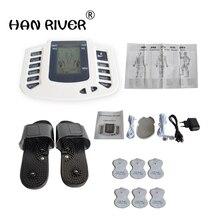 Электрический стимулятор для всего тела, расслабляющий мышечный массажер, импульсный акупунктурный терапевтический тапочки + 6 электродных подушечек