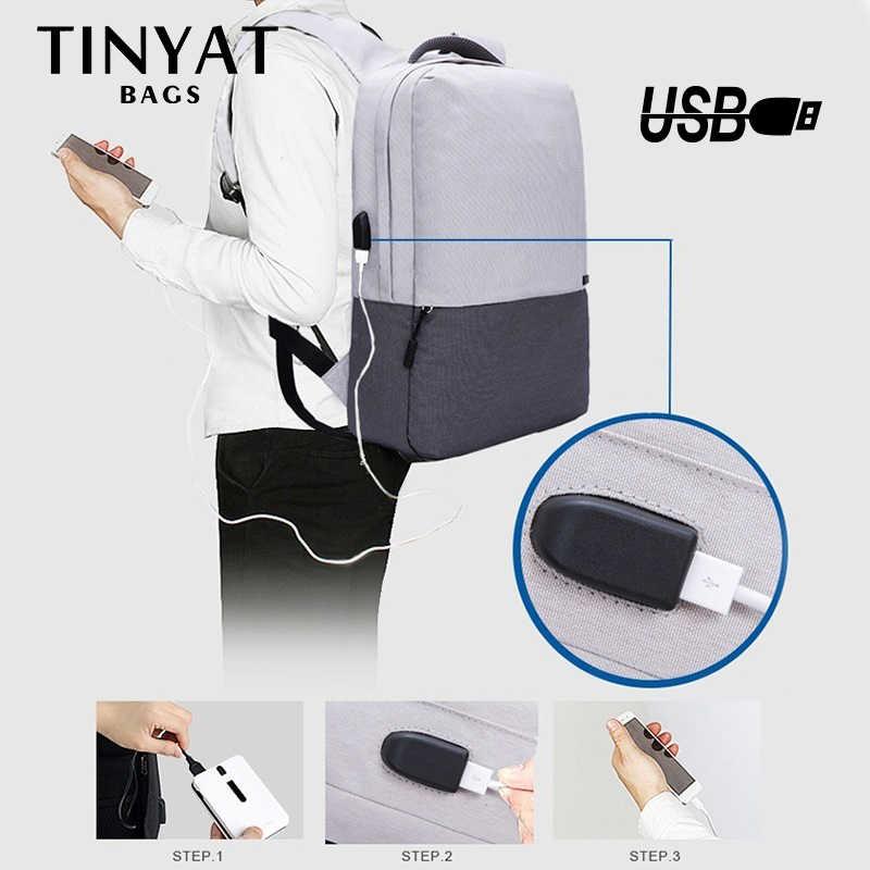 Tinyat Nam Ba Lô Laptop Cho 15.6 Inch USB Sạc Ba Lô Máy Tính, Chống Trường Ba Lô Túi Du Lịch Nữ mochila