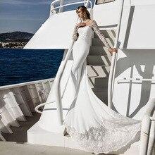 Vestido de novia de sirena de satén de manga larga con botones de apliques con cuentas personalizado con falda unida tienda de porcelana en línea Vestidos