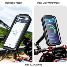 Funda de teléfono impermeable para manillar de bicicleta y motocicleta, espejo retrovisor de 3 a 6,8 pulgadas, bolsa de montaje para teléfono móvil, soporte para teléfono