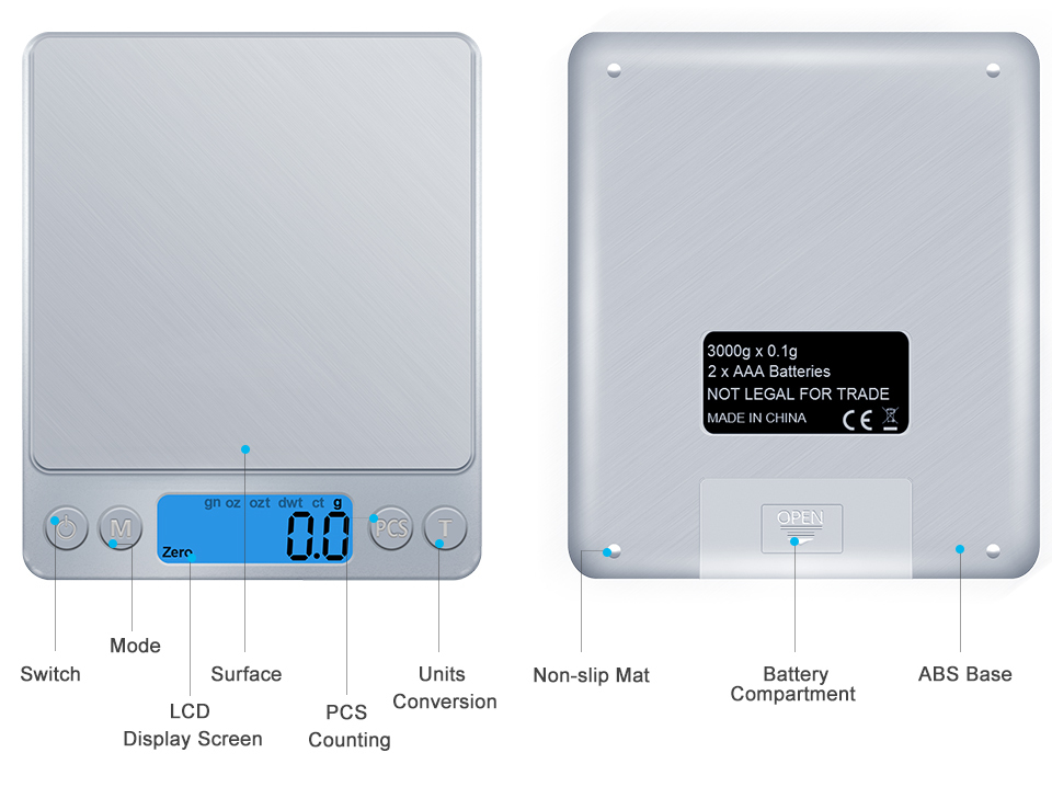 GASON Z1s Digital Kitchen Scale Mini Pocket Stainless Steel Precision Jewelry Electronic Balance Weight Gold Grams(3000gx0.1g) 4