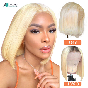 Allove 613 Bob Wig Short Bob Wigs Ombre 1B 613 Lace Wig Straight Human Hair Wigs For Women 13X4X1 Blonde Wig T Part Lace Wig