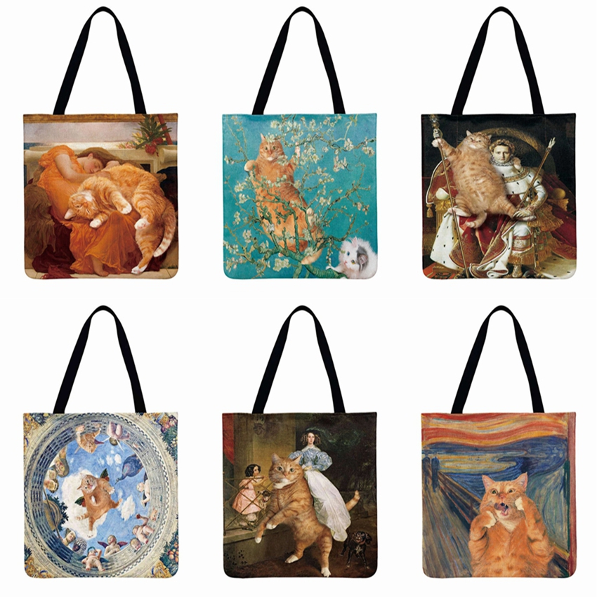 Classical Art Printed Tote Bag All About Cat Casual Tote Beach Bag Women Shoulder Bag Foldable Shopping Bag Reusable Fashion Bag