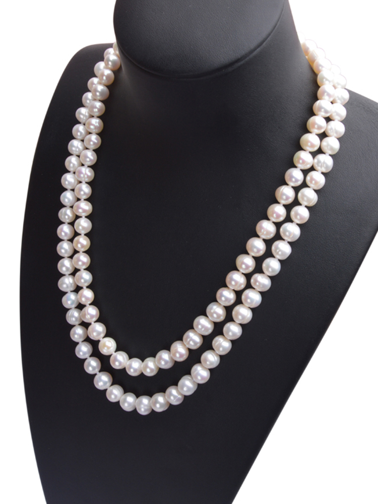 ASHIQI Natural freshwater pearl Necklace  Near round pearl jewelry for women gift