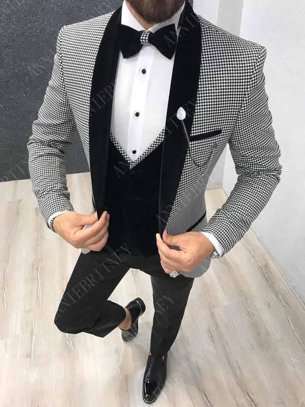 ANNIEBRITNEY 2019 Fashion Houndstooth Men's Suits Slim Wedding Prom Best Man Groom Tuxedos Custom Big Size Jacket Pants Suit Men