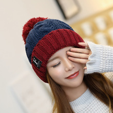 Women's autumn and winter wool hat outdoor plus velvet thick warm hat letter ladies ear ear ball knit cap lowest price free shipping promotion new oversized hair ball knit wool cap blending knitted hat ear warm hat ms