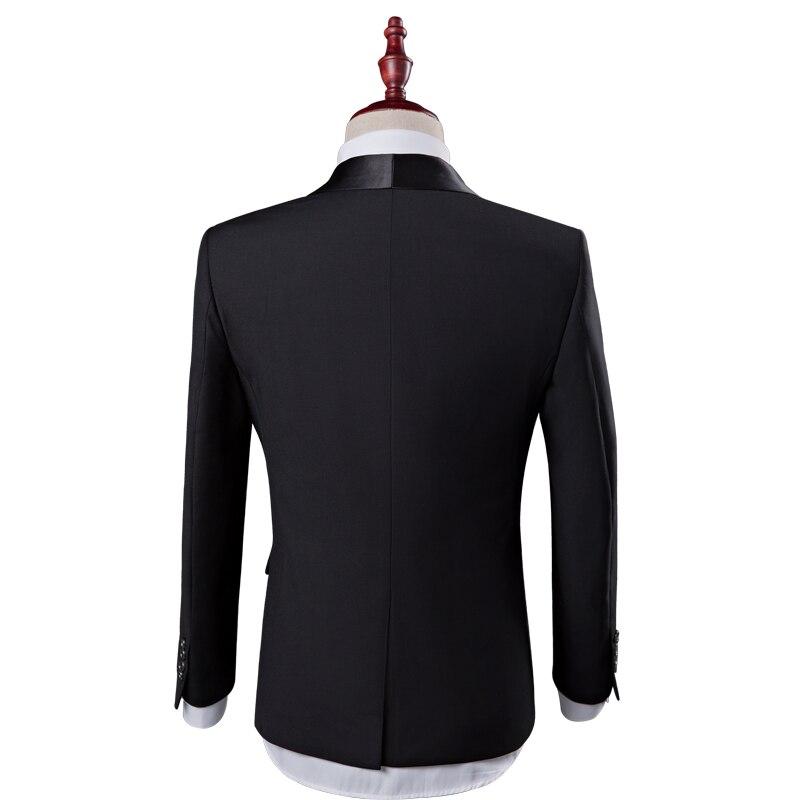 Модный клетчатый мужской костюм на заказ, смокинги для жениха, свадебные костюмы из 3 предметов, блейзер для лучшего человека (костюм + брюки ... - 2