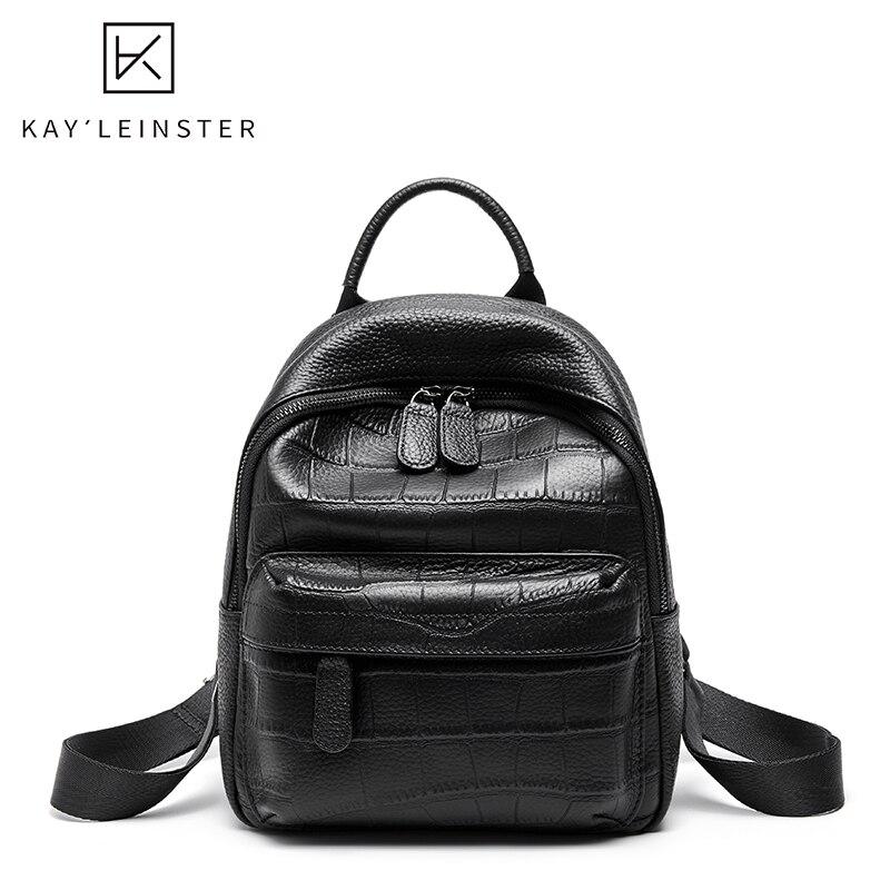 100% Genuine Leather Female Backpack Classic Black Backpack Fashion Shoulder Bag High Quality Youth Backpacks For Teenage Girls
