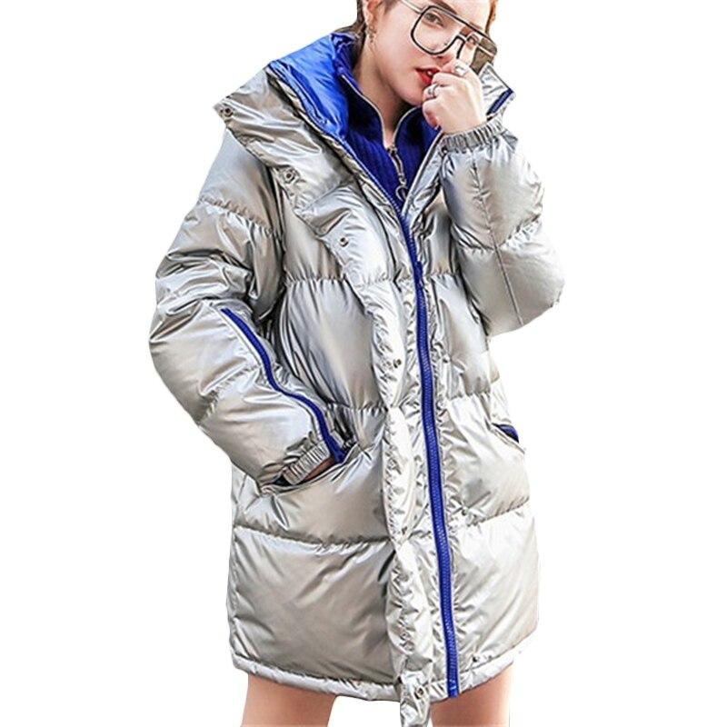 Новая Корейская зимняя куртка Парка женская утепленная Глянцевая теплая пуховая хлопковая куртка серебряные женские зимние повседневные