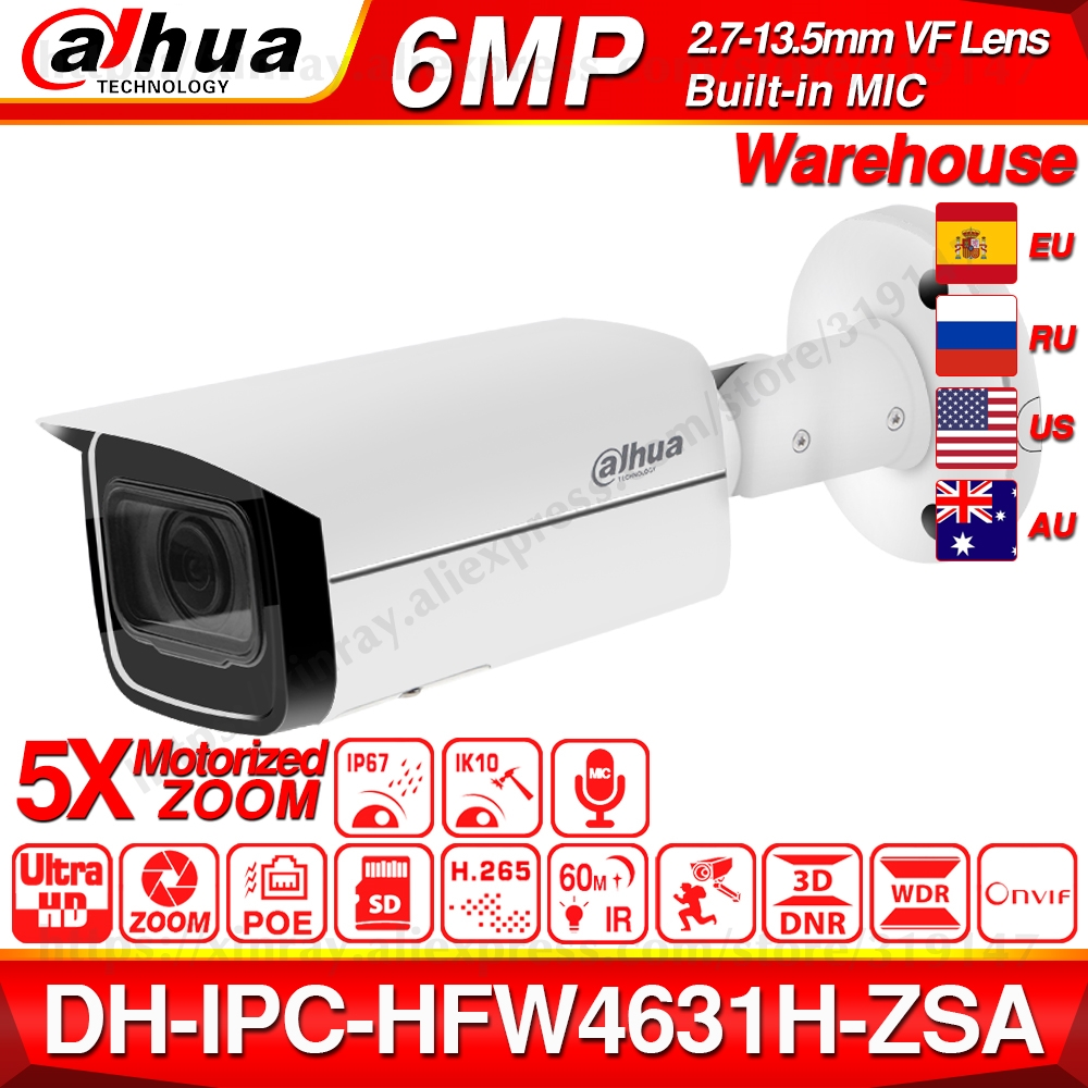 Dahua IPC-HFW4631H-ZSA 6MP IP Camera 2.7~13.5mm 5X Zoom VF Lens Upgrade from IPC-HFW4431R-Z Built-in MiC SD Card Slot PoE Camera