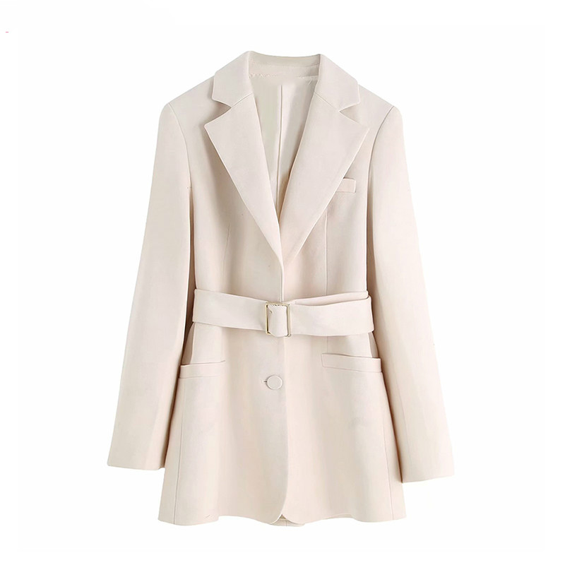 Vintage Elegant Office Lady Blazers Jackets With Belted Women 2019 Fashion Notched Collar Long Sleeve Pocket Chic Outerwear Coat