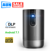 AUN Full HD DLP Projector D9, Android 7.1 (2G+16G) 4000 mAh Battery, 5G WIFI , 3