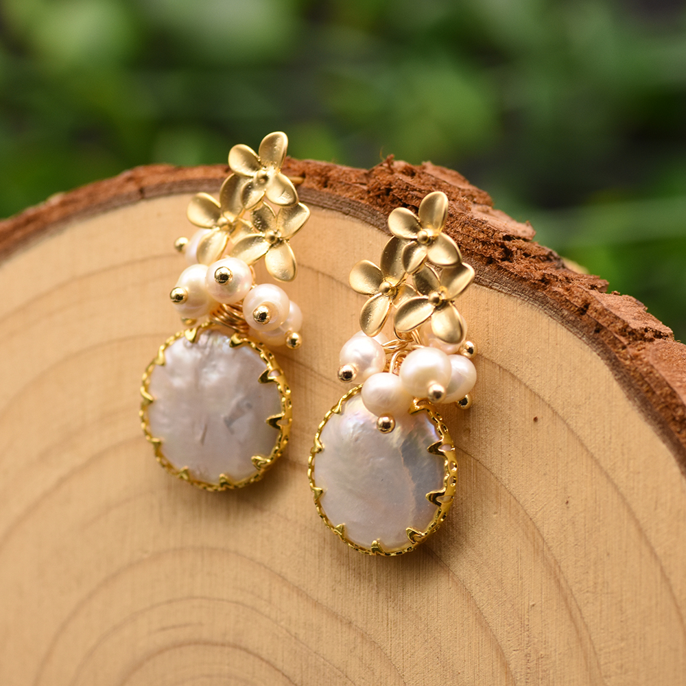 H38ab80070c1b462a92f9222248bef600p - GLSEEVO Natural Fresh Water Baroque Pearl Earrings For Women Plant Leaves Dangle Earrings Luxury Handmade Fine Jewelry GE0308