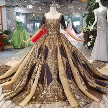 LSS125 shiny queen occasion dresses long golden lace square collar half sleeve open back evening dresses ball gown with train(China)